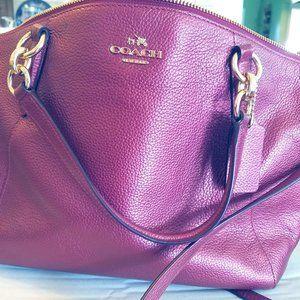 Coach Metallic Wine Shoulder Bag